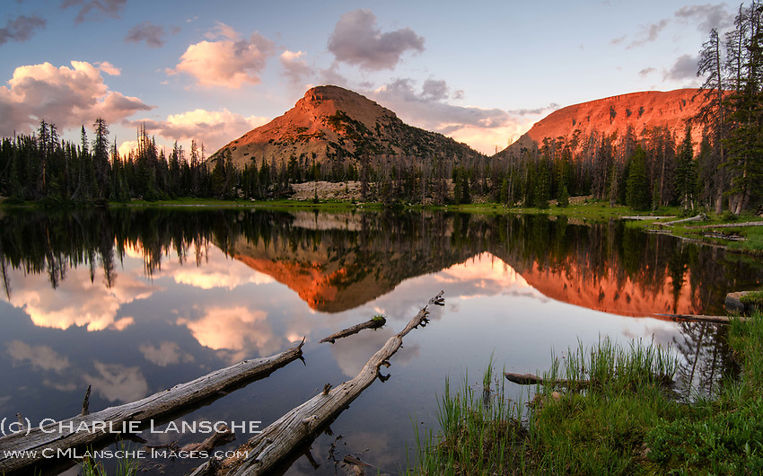 The 11,700 foot summit of Reids Peak basks in evening glow at day's end in Utah's Uinta Mountains. I love visiting these high country lakes just east of my home. The best part may have been hiking out with Coni Lansche beneath the soft light of a full moon. No headlamps required.