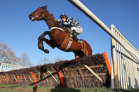 Race winner Black Dragon ridden by Matt Crawley in jumping action during the Wensum Handicap Hurdle at Fakenham Racecourse, Norfolk - 12/12/11 - MANDATORY CREDIT: Gavin Ellis/TGSPHOTO - Self billing applies where appropriate - 0845 094 6026 - contact@tgsphoto.co.uk - NO UNPAID USE.
