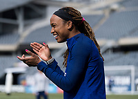 CHICAGO, IL - OCTOBER 5: Jess McDonald #22 of the United States laughs at Soldier Field on October 5, 2019 in Chicago, Illinois.
