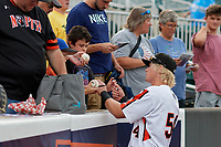 Aberdeen IronBirds Kyle Stowers (54) signs autographs before a NY-Penn League game against the Vermont Lake Monsters on August 19, 2019 at Leidos Field at Ripken Stadium in Aberdeen, Maryland.  Aberdeen defeated Vermont 6-2.  (Mike Janes/Four Seam Images)
