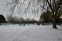 A general view of the park in Sidcup following Heavy Snowfall at Sidcup, Kent, England on the 8 February 2021. Photo by Alan Stanford.