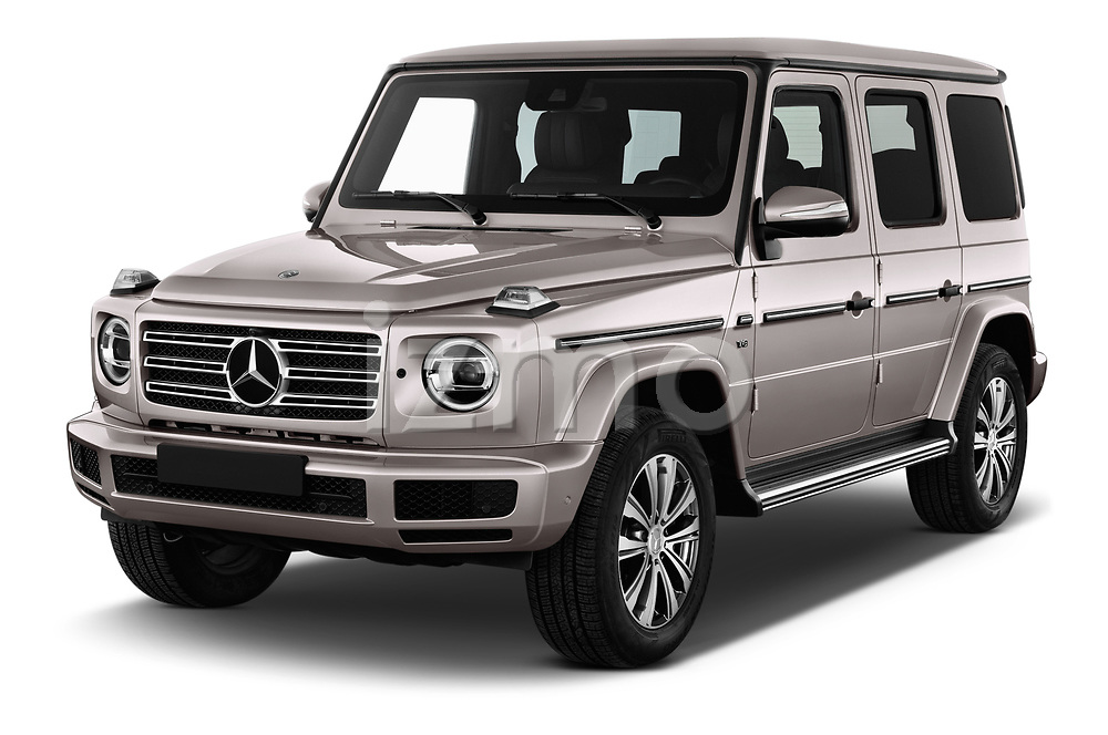 2019 Mercedes Benz G-Class Base 5 Door SUV Angular Front stock photos of front three quarter view