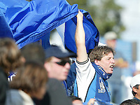 24 October 2004:  San Jose Earthquakes' fans celebrate with San Jose Earthquakes' team during the game against Wizards at Spartan Stadium in San Jose, California.   Earthquakes defeated Wizards, 2-0.  Credit: Michael Pimentel / ISI