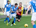 Partick Thistle v St Johnstone…10.09.16..  Firhill  SPFL<br />Danny Swanson fends off Sean Walsh<br />Picture by Graeme Hart.<br />Copyright Perthshire Picture Agency<br />Tel: 01738 623350  Mobile: 07990 594431