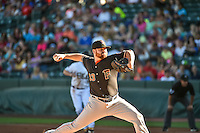 Fresno Grizzlies starting pitcher Jake Buchanan (33) delivers a pitch to the plate against the Salt Lake Bees in Pacific Coast League action at Smith's Ballpark on June 13, 2015 in Salt Lake City, Utah.  (Stephen Smith/Four Seam Images)