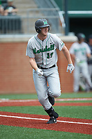 Tommy Lane (19) of the Marshall Thundering Herd hustles down the first base line against the Charlotte 49ers at Hayes Stadium on April 23, 2016 in Charlotte, North Carolina. The Thundering Herd defeated the 49ers 10-5.  (Brian Westerholt/Four Seam Images)