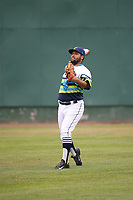 Anjul Hernandez (48) of the Everett AquaSox throws before pitching against the Boise Hawks at Everett Memorial Stadium on July 21, 2017 in Everett, Washington. Boise defeated Everett, 10-4. (Larry Goren/Four Seam Images)