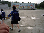 """NR00022/Fresco in honor of the koreaan system. """"We must follow our way""""..COREE DU NORD/NORTH KOREA.Avril 2000."""