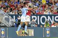 Houston, TX - Thursday July 20, 2017: Tosin Adarabioyo and Romelu Lukaku during a match between Manchester United and Manchester City in the 2017 International Champions Cup at NRG Stadium.