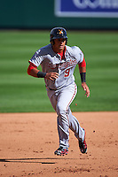 Salt River Rafters third baseman Drew Ward (9) running the bases during an Arizona Fall League game against the Surprise Saguaros on October 20, 2015 at Salt River Fields at Talking Stick in Scottsdale, Arizona.  Surprise defeated Salt River 3-1.  (Mike Janes/Four Seam Images)