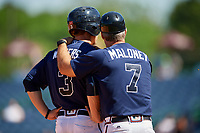 Mississippi Braves Drew Waters (3) and manager Chris Maloney (7) during a Southern League game against the Jacksonville Jumbo Shrimp on May 5, 2019 at Trustmark Park in Pearl, Mississippi.  Mississippi defeated Jacksonville 1-0 in ten innings.  (Mike Janes/Four Seam Images)