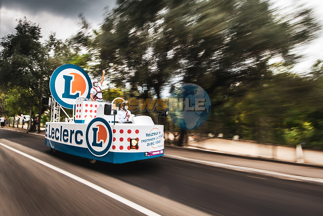 The much reduced publicity caravan because of Covid before Stage 1 of Tour de France 2020, running 156km from Nice Moyen Pays to Nice, France. 29th August 2020.<br /> Picture: ASO/Charly López | Cyclefile<br /> All photos usage must carry mandatory copyright credit (© Cyclefile | ASO/Charly López)