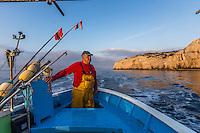 France, Bouches-du-Rhône (13), Marseille, capitale européenne de la culture 2013, Calanque de Morgiou, à la pêche sur le pointu de Jean-Claude Bianco, pêcheur qui a découvert la gourmette d'Antoine de Saint-Exupéry au large des calanques de Marseille - Jean-Claude Bianco,  pêcheur  // France, Bouches du Rhone, Marseille, european capital of culture 2013, Creek of Morgiou, On the boat , Jean Claude Bianco fisherman who discovered the curb by Antoine de Saint Exupery off Calanques<br /> Auto N :2013-146