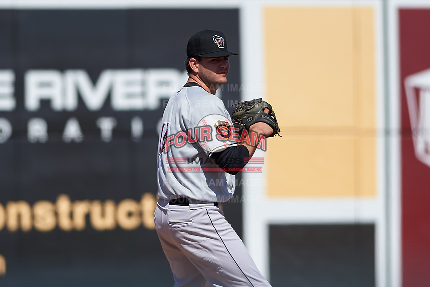 Wisconsin Timber Rattlers relief pitcher Michael Mediavilla (14) warms up in the bullpen during a Midwest League game against the Great Lakes Loons at Dow Diamond on May 4, 2019 in Midland, Michigan. Great Lakes defeated Wisconsin 5-1. (Zachary Lucy/Four Seam Images)