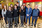 """Students and staff of Gaelcholáiste Chiarraí attending the Kerry ETB Student Awards ceremony in the IT Tralee on Friday night. Front l to r: Sinéad Ní Mhurchú, Peadar Claro and Aoife Ní Shúilleabháin.<br /> Back l to r: Laoise Ní Chaochlaigh, Sadhbh Sionóid, Caolán Ó'Conaill, Ruairí Ó'Cinnéide (Principal), Conall O""""Cruadhlaoich and Nollaig O'Cianáin."""
