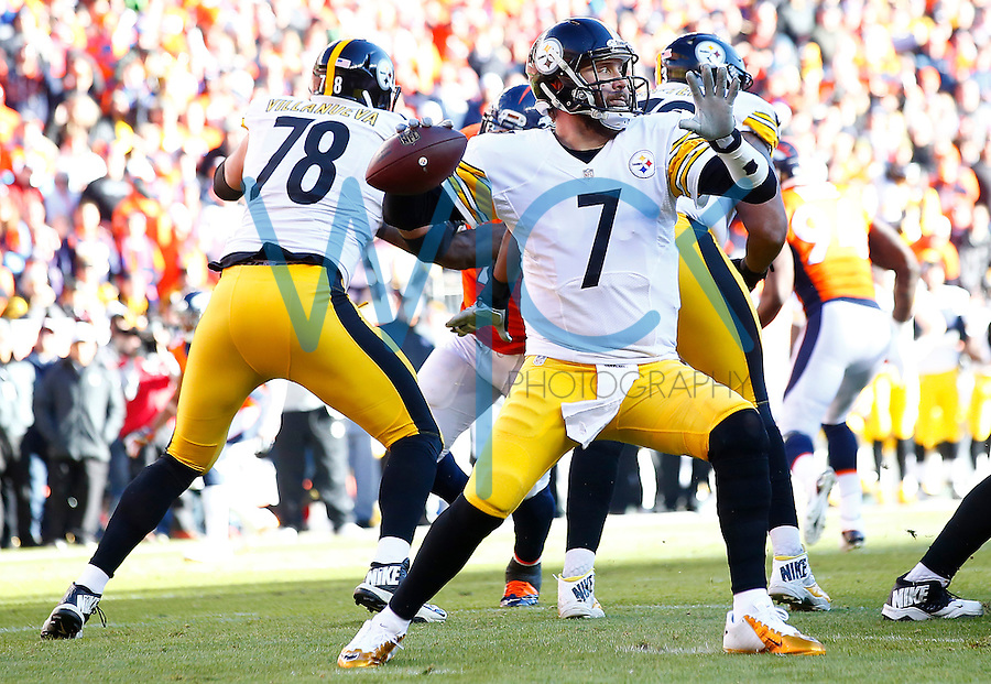 Ben Roethlisberger #7 of the Pittsburgh Steelers throws a pass against the Denver Broncos in the first half during the AFC Divisional Round Playoff game at Sports Authority Field at Mile High on January 17, 2016 in Denver, Colorado. (Photo by Jared Wickerham/DKPittsburghSports)