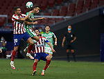 Sergio Canales (Real Betis) and Vitolo Machin (Atletico de Madrid) competes for the ball during competes for the ball during  La Liga match round 36 between Atletico de Madrid and Real Betis Balompie at Wanda Metropolitano Stadium in Madrid, Spain, as the season resumed following a three-month absence due to the novel coronavirus COVID-19 pandemic. Jul 11, 2020. (ALTERPHOTOS/Manu R.B.)