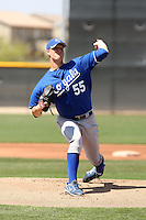 Will Smith #55 of the Kansas City Royals pitches in a minor league spring training game against the Seattle Mariners at the Royals complex on March 26, 2011  in Surprise, Arizona. .Photo by:  Bill Mitchell/Four Seam Images.