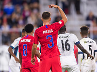 WASHINGTON, DC - OCTOBER 11: Matt Miazga #3 of the United States calls for the ball during a game between Cuba and USMNT at Audi Field on October 11, 2019 in Washington, DC.