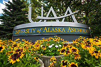 Flowers bloom around the UAA sign on Lake Otis.