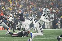 FOXBOROUGH, MA - NOVEMBER 24: New England Patriots Quarterback Tom Brady #12 prepares for a long pass during a game between Dallas Cowboys and New England Patriots at Gillettes on November 24, 2019 in Foxborough, Massachusetts.