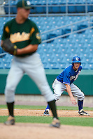Chandler Avent #4 of Pike Liberal Arts High School in Troy, Alabama playing for the Kansas City Royals scout team during the East Coast Pro Showcase at Alliance Bank Stadium on August 3, 2012 in Syracuse, New York.  (Mike Janes/Four Seam Images)