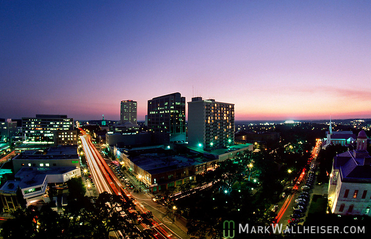 Florida's capitol city of Tallahassee.  The photo is of downtown looking southwest at the corner of Monroe Street and Park Avenue.    (Mark Wallheiser/TallahasseeStock.com)