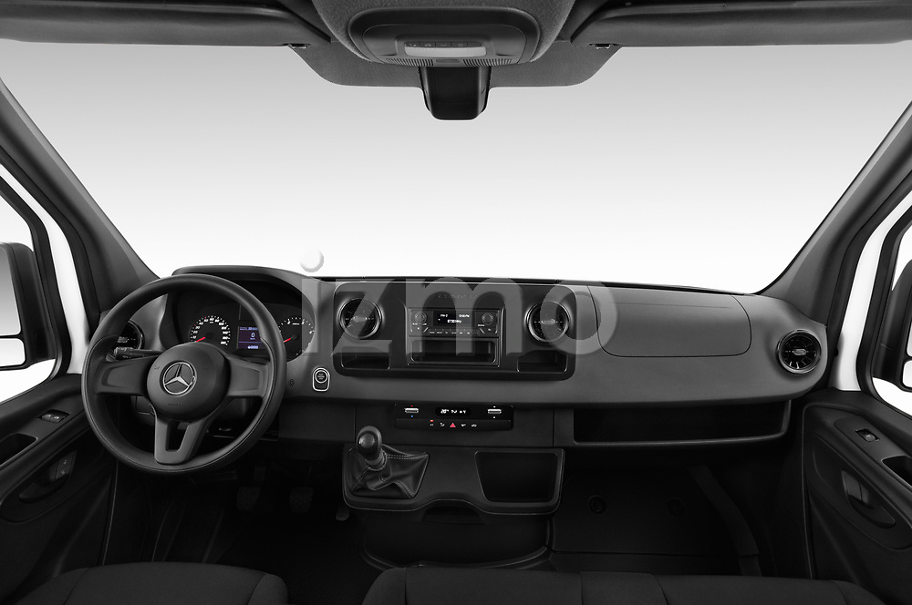 Stock photo of straight dashboard view of a 2019 Mercedes Benz Sprinter Base 4 Door Combi