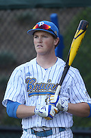 Kort Peterson #18 of the UCLA Bruins during a game against the Cal Poly Mustangs at Jackie Robinson Stadium on February 22, 2014 in Los Angeles, California. Cal Poly defeated UCLA, 8-0. (Larry Goren/Four Seam Images)