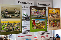 """Switzerland. Canton Ticino. Chiasso. The """" Why Not"""" shops sells a wide range of quality products from the world of hemp. The concept behind the shop is based on the """"Why? Why not? """" comic strips created by Ivan Artucovich, AKA Ivan Art, who for years has been creating awareness and shedding new light on the multiple uses of cannabis with the goal to make society rethinking about its preconceptions towards the magnificent plant. After many years since its creation the concept takes shape and becomes in September 2018 the """" Why Not""""  shop. In addition to the various hemp products available in shop including food, clothing, building material, grow equipment and consultation, the store offers the opportunity to buy prints of the many cartoons created by the author himself and the promotional items that support this thought. The shop is also a meeting point for those interested in the subject and to create awareness of the multiple uses of hemp and its derivatives and at the same time offer a choice of high quality products. The business of selling cannabis CBD is registered with the Swiss Federal Health Office. The Swiss legal requirements have a 1 percent THC limit compare to the European Union (EU) where the THC limit is limited to 0.3 percent. Cannabidiol (CBD) is a phytocannabinoid discovered in 1940. It is one of some 113 identified cannabinoids in cannabis plants and accounts for up to 40% of the plant's extract. Cannabidiol can be taken into the body in multiple ways, including by inhalation of cannabis smoke or vapor, as an aerosol spray into the cheek, and by mouth. It may be supplied as CBD oil containing only CBD as the active ingredient (no included tetrahydrocannabinol [THC] or terpenes), a full-plant CBD-dominant hemp extract oil, capsules, dried cannabis, or as a prescription liquid solution. 5.09.2019 © 2019 Didier Ruef"""