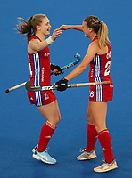 Great Britain celebrate a goal  during the Pro League Hockey match between the Blacksticks women and Great Britain, National Hockey Arena, Auckland, New Zealand, Saturday 8 February 2020. Photo: Simon Watts/www.bwmedia.co.nz