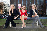 """""""Triple Take"""".Model Suzanne McCabe, pictured launching Veronica Canning's new book Shoeisms""""."""