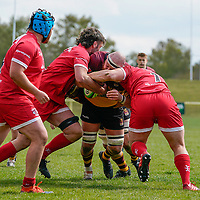 Charlie BECKETT (4) of Ampthill (centre) during the Greene King IPA Championship match between Ampthill RUFC and Jersey Reds at Dillingham Park, Ampthill, England on 1 May 2021. Photo by David Horn.