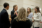 """Sept. 1, 2013; Honorable Michele Flournoy, chats with students after the first event of the 2013-14 Notre Dame Forum: """"Women in Leadership"""" in Leighton Concert Hall at DeBartolo Performing Arts Center. Photo by Barbara Johnston/University of Notre Dame"""