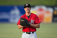 Kannapolis Intimidators outfielder Alex Call (1) warms up in the outfield prior to the game against the West Virginia Power at Kannapolis Intimidators Stadium on July 19, 2017 in Kannapolis, North Carolina.  The Power defeated the Intimidators 7-4 in 11 innings.  (Brian Westerholt/Four Seam Images)