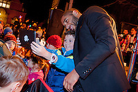 Thursday 20 November 2014<br /> Pictured: Ashley Williams poses for a selfie with fans <br /> Re: Swansea City Captain Ashley Williams helps turn on the Christmas Lights at The Mumbles, Near Swansea, Wales UK