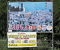 """SAGRA DEL """"PESCE E PATATE"""" 2011, BARGA, ITALY<br /> <br /> THE SIGN ENTERING BARGA DECLARING IT TO BE """"THE MOST SCOTTISH TOWN IN ITALY""""."""