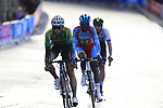 Byron Munto (RSA), Biniam Girmay Hailu (ERI) and Lukas Kubis (SVK) on the Harrogate circuit during the Men U23 Road Race of the UCI World Championships 2019 running 186.9km from Doncaster to Harrogate, England. 27th September 2019.<br /> Picture: Eoin Clarke | Cyclefile<br /> <br /> All photos usage must carry mandatory copyright credit (© Cyclefile | Eoin Clarke)