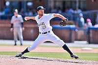 Asheville Tourists pitcher Drasen Johnson (29) delivers a pitch during a game against the Charleston RiverDogs at McCormick Field on July 10, 2016 in Asheville, North Carolina. The Tourists defeated the RiverDogs 4-2. (Tony Farlow/Four Seam Images)