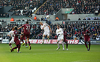 Saturday 2nd March 2013<br /> Pictured: (L-R) Steven Taylor, Garry Monk, Michu.<br /> Re: Barclays Premier Leaguel, Swansea  v Newcastle at the Liberty Stadium in Swansea.