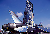 Canadian Forces Boeing CF-18 (aka F/A-18) Hornet Military Aircraft on Static Display - Year 2000 Special Paint Commemoration - at Abbotsford International Airshow, BC, British Columbia, Canada