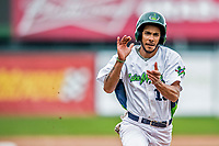 25 July 2017: Vermont Lake Monsters infielder Jesus Lage comes home to score against the Tri-City ValleyCats at Centennial Field in Burlington, Vermont. The Lake Monsters defeated the ValleyCats 11-3 in NY Penn League action. Mandatory Credit: Ed Wolfstein Photo *** RAW (NEF) Image File Available ***