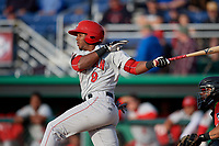 Auburn Doubledays Rafael Bautista (9) at bat during a NY-Penn League game against the Batavia Muckdogs on June 14, 2019 at Dwyer Stadium in Batavia, New York.  Batavia defeated 2-0.  (Mike Janes/Four Seam Images)