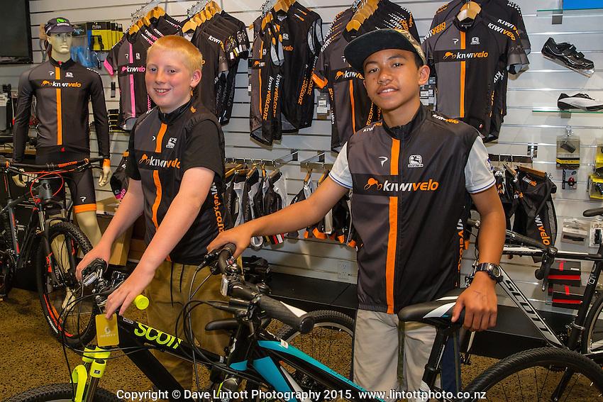 Joshua Johnson, age 13, left and Harlem Tamatea, age 12, with their new bikes,  Kiwivelo bike presentation at Kiwivelo Cycling, Takapuna, New Zealand on Saturday, 7 November 2015. Photo: David Rowland / lintottphoto.co.nz