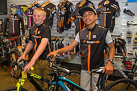 Joshua Johnson, age 13, left and Harlem Tamatea, age 12, with their new bikes,  Kiwivelo bike presentation at Kiwivelo Cycling, Takapuna, New Zealand on Saturday, 7 November 2015. Photo: David Rowland / lintottphoto.co.nz