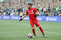 SEATTLE, WA - NOVEMBER 10: Jonathan Osorio #21 of Toronto FC plays the ball during a game between Toronto FC and Seattle Sounders FC at CenturyLink Field on November 10, 2019 in Seattle, Washington.