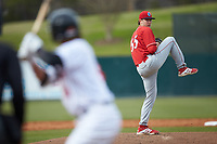 Lakewood BlueClaws starting pitcher Damon Jones (55) in action against the Kannapolis Intimidators at Kannapolis Intimidators Stadium on April 8, 2018 in Kannapolis, North Carolina.  The Intimidators defeated the BlueClaws 4-3 in game two of a double-header.  (Brian Westerholt/Four Seam Images)