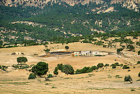 Tunisia, Le Kef.   Tunisian Countryside and Farm Opposite Hammam Mellegue, Roman Era Baths.