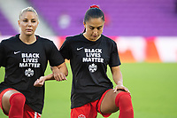 ORLANDO, FL - FEBRUARY 21: Jordyn Listro #21 of the CANWNT kneels for the anthem before a game between Argentina and Canada at Exploria Stadium on February 21, 2021 in Orlando, Florida.