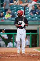 Chattanooga Lookouts second baseman Nick Gordon (1) at bat during a game against the Jackson Generals on May 9, 2018 at AT&T Field in Chattanooga, Tennessee.  Chattanooga defeated Jackson 4-2.  (Mike Janes/Four Seam Images)